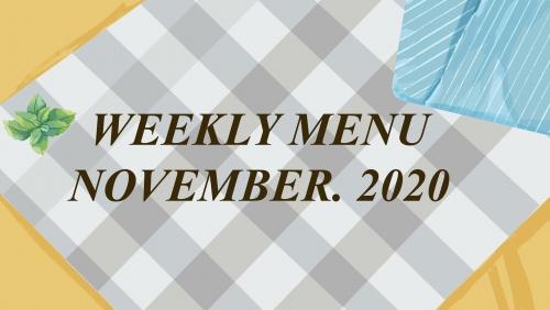 Thực đơn tuần 1 - tháng 11/2020