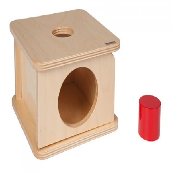 Hộp gỗ vuông kèm hình trụ màu đỏ (lớn)