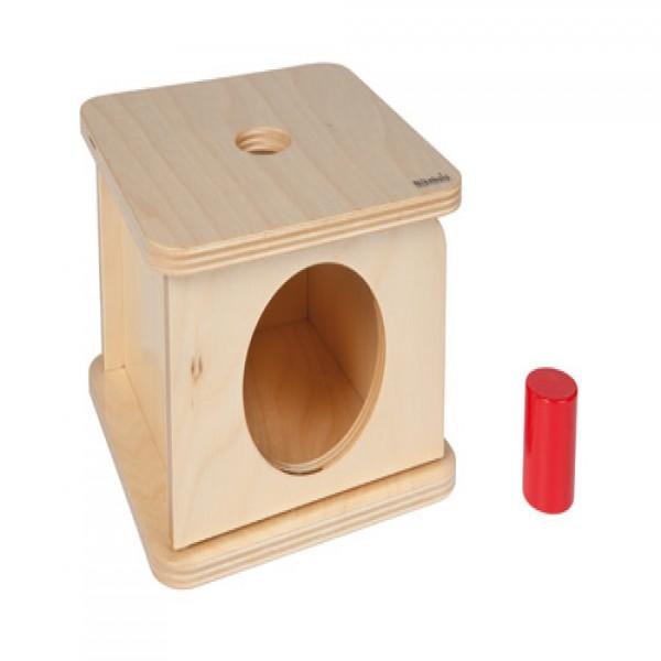 Hộp gỗ vuông kèm hình trụ màu đỏ (nhỏ)